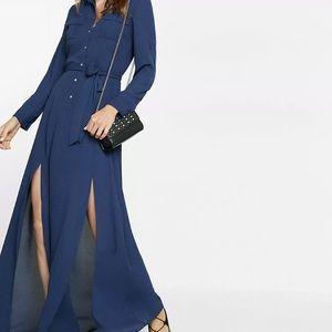 Express tie waist popover maxi dress